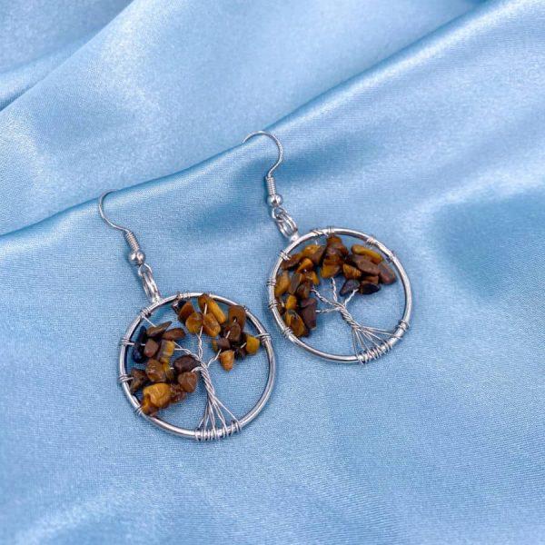 Tiger Eye Tree of Life Silver Wire Wrap Earrings-w900-h900