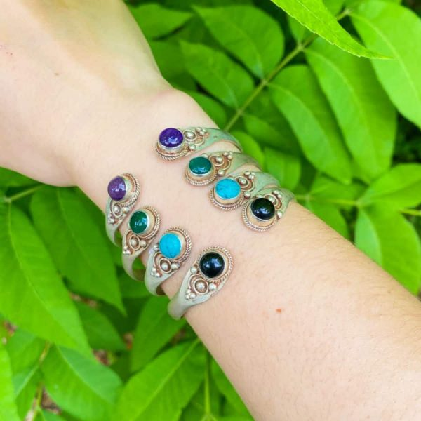 Two Stone Open Silver Plated Bangle Turquoise, Onyx, Amethyst, Green Aventurine1-w900-h900