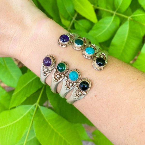 Two Stone Open Silver Plated Bangle Turquoise, Onyx, Amethyst, Green Aventurine2-w900-h900