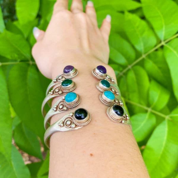 Two Stone Open Silver Plated Bangle Turquoise, Onyx, Amethyst, Green Aventurine3-w900-h900