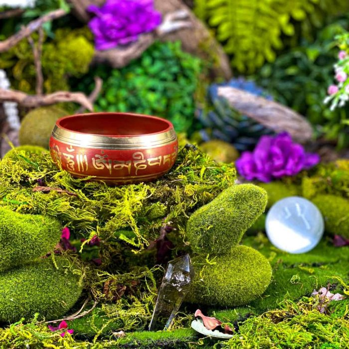 10 Cm Red Colored Singing Bowl