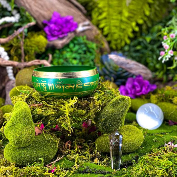 10 Cm Green Colored Singing Bowl