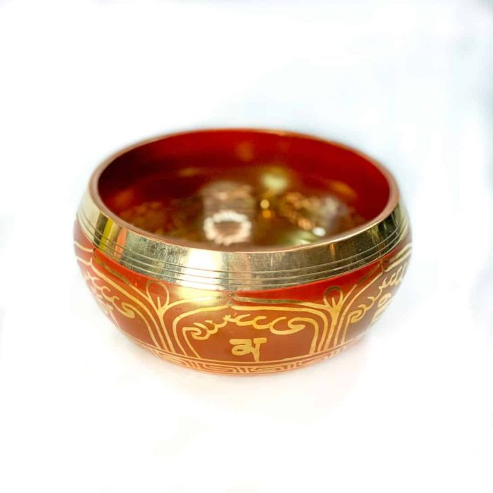 15 Cm Red Colored Singing Bowl Tallahassee Metaphysical Shop White Front (2)