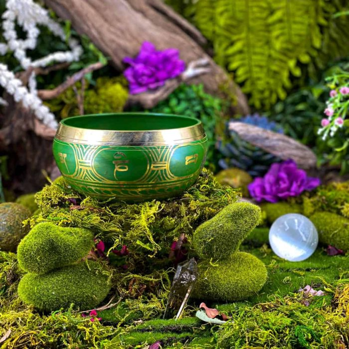 15 Cm Green Colored Singing Bowl