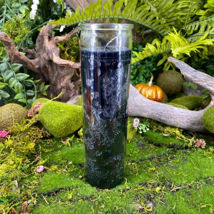 Black Seven Day Glass Candle