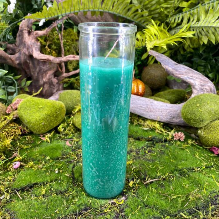Green Seven Day Glass Candle