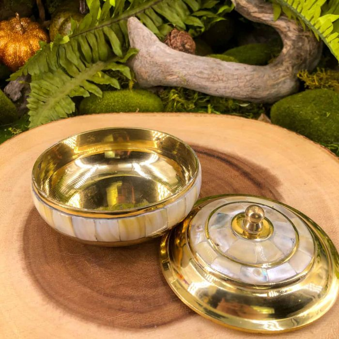 Brass Mother Of Pearl Bowl With Lid