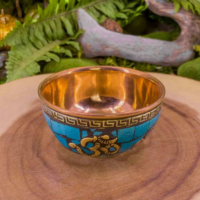 Om Turquoise Copper Offering Bowl