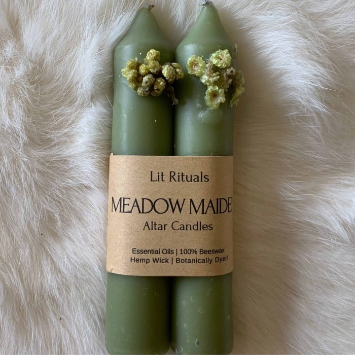 Meadow Maiden' Beeswax Altar Candles